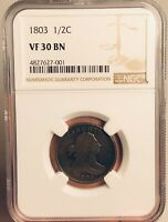 1803 Half Cent Draped Bust NGC VF30 Beautiful Coin!