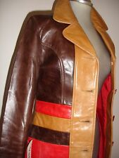 Lady's 3/4 lent Genuine 100% Glazed Leather Jacket Brown,Tan & Red Size S