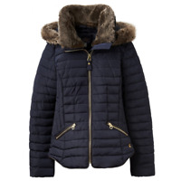 Joules Gosling Womens Padded Jacket with Zip Fastening in Marine Navy