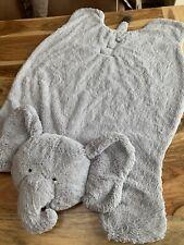 "Pottery Barn Kids Baby Elephant Plush Play Mat Gray Monogram ""F� Blanket"