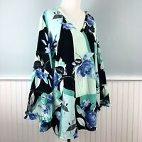 SIZE 2X Alfani Floral Tiered Ruffle Sleeve Top Blouse Shirt Women's Plus NWT New