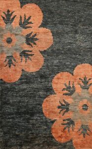 Charcoal Floral Modern Oriental Area Rug Handmade Wool Contemporary Carpet 5x6