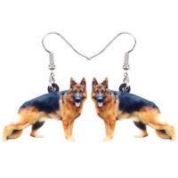 Acrylic German Shepherd Dog Earrings Drop Dangle For Women Kid Charm Pet Jewelry