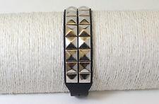 Bracelet Cuir 2 rang de pyramides, gothique, punk, métal, rock , 24 cm