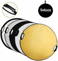 Selens 5 in 1 80cm Collapsible Portable Round Light Reflector Diffuser with Grip