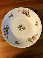 "Fine China Of Japan ROYAL ROSE 8.75"" Round Vegetable Bowl Scalloped & Gold Rim"