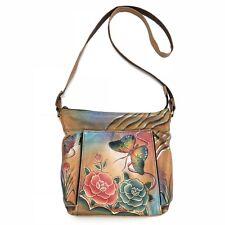 Anuschka Leather Hand Painted Floral Butterfly Purse Handbag Crossbody