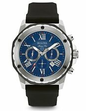 Bulova 98B258 Men's Blue Dial Marine Star Chronograph Black Rubber Watch