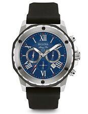 Bulova 98B258 Men's Blue Dial Marine Star Chronograph Black Rubber Watch