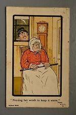 R&L Postcard: Comic, M&L, Burns Quote Nursing Her Wrath, Whacking Stick, Clock