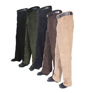 New Mens Corduroy Cord Cotton Pant Trousers Bottoms Free Belt Size 30-48
