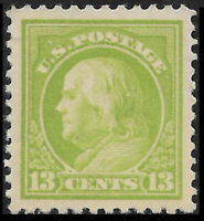 US #513 1919 13c Franklin, Apple Green, Mint VF Hinged. FREE SHIPPING!