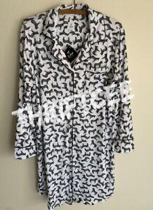 NWT L Zebra Horse Hearts Echo Pajama Nightgown Lounge Dress Large Animal