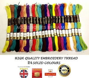 25 Anchor Cotton Thread solid Floss Skeins most demanding fast basic colours