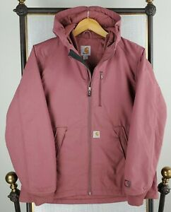 CARHARTT Size Medium Womens Quick Cotton Duck Rain Defender Hooded Jacket Coat
