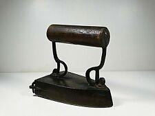 Antique 19th Ct Solid Brass Sad Iron with Cast Iron Heating Slug Insert Ship