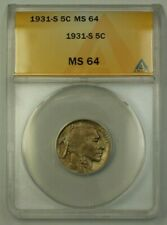 1931-S US Buffalo Nickel 5c Coin ANACS MS-64 (Better)