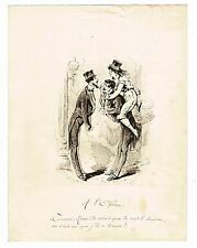 "LA VIE PARISIENNE ANNEES 1870 / ""A L'OPERA"" / DESSIN ORIGINAL A LA PLUME"