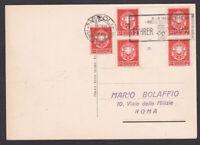 quartina con interspazio +1 del 2c. x ciechi su cartolina 1938 Italia Regno