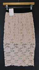 FREE PEOPLE Lace Pencil SKIRT Lined Elastic Waist Blush F585R341 SIZE XS NEW $78