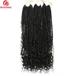 "Curly Goddess Box Braids Crochet Hair Extension Synthetic Messy Boho Braids 22"""