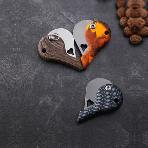 Outdoor Fishing Camping Folding Blade Keychain Small Knife Heart Shape New