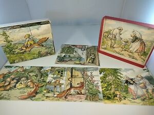 Vintage Wooden Block Cube Picture Puzzle Looks Russian ? Fox And Boy