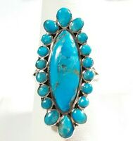 925 STERLING SILVER ELONGATED FLOWER DESIGN TURQUOISE SIZE 9 RING