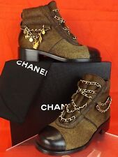 NIB CHANEL BROWN GOLD CHARMS CHAIN BLACK CAP TOE PONY HAIR ANKLE BOOTS 37.5 $2K
