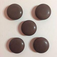"5 Vintage Dark Brown Plastic Sewing Buttons - 7/8"" Round"
