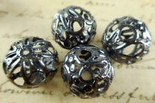 20 Gun Metal Plated 18mm Filigree Round Beads 43820