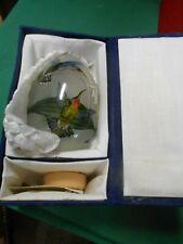 Beautiful Treasured Visions Hand Blown Glass Egg 1991 in Felt Box-Bird design