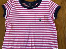 Polo Ralph Lauren Size 4 4T Short Sleeve Pocket T-Shirt Striped Dress Pink &Blue