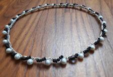 Renaissance Circlet Medieval Crown Wedding tiara pearl and black beaded