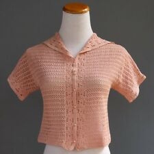 VTG 40s 50s Handmade Crochet Open Weave Peach Pink Cropped Jacket Sweater XS XXS