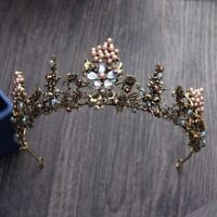 Vintage Flower Pearl Gold Tiara Bridal Crystal Crown Wedding Headpiece Pageant