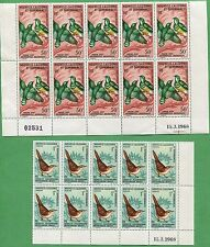 10 Sets of 1967 New Caledonia Stamps 361-363 C49a Cat. Value $220 Tropical Bird
