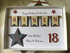 Handmade Personalised Boxed Card Birthday Boys Men 16 18 21 40 Son Dad Husband