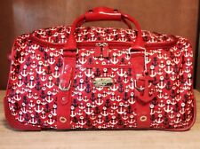 """""""JESSICA SIMPSON"""" 22"""" Rolling Duffle,ANCHOR DESIGN,Red,White,Blue Carry Luggage"""