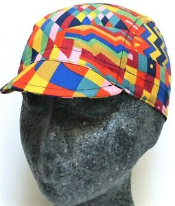 NEW CYCLE CYCLING MULTICOLOR GEOMETRIC SHAPES COTTON BICYCLE CAP HAT UK HANDMADE