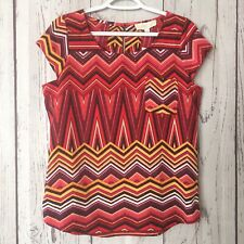Olive & Oak Women's S Small Top Geometric Print Chest Pocket Lightweight NWT