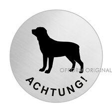 Türschild-Edelstahlschild-Warnschild-Rottweiler  Ø 75 mm selbstklebend