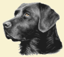 BLACK LABRADOR RETRIEVER dog, puppy, complete counted cross stitch kit