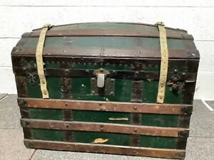 Vintage Domed Travel Trunk Chest Anderson Green & Co.Orient Line Tags 1920s