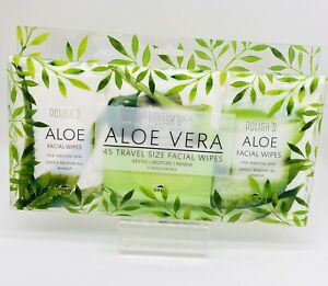Polish'd Aloe Vera 45 Soothing Travel Size Facial Face Cleansing Wipes