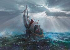Yongsung Kim PEACE BE STILL 21x48 Canvas Giclee Art Print Jesus Calming the Sea