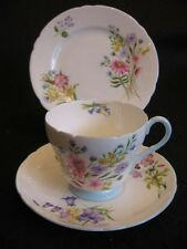 VINTAGE SHELLEY RICHMOND  'WILD FLOWERS' CHINA TEA TRIO #13668 c.1950's NM