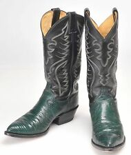 Justin Western Cowboy Boots Green Black Lizard Leather Womens 8E Made USA