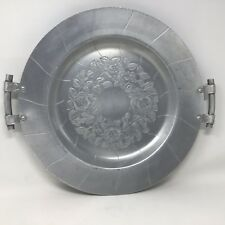 Vintage World Hand Forged Round Serving Tray W/ Handles Rare Hammered Aluminum