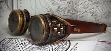 Steampunk Brass effect goggles with real leather strap